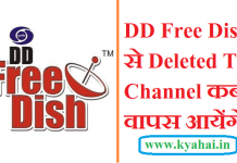 DD Free Dish Se Deleted TV Channel kab Ayenge 2019